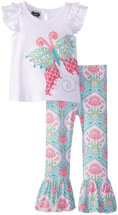 Mud Pie Little Girls' Butterfly Tunic and Legging, Multi, 2T