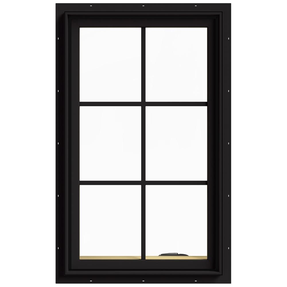Jeld Wen 24 In X 40 In W 2500 Series Black Painted Clad Wood Right Handed Casement Window With Colonial Grids Grilles Thdjw140100368 The Home Depot Casement Windows Clad Wood Casement
