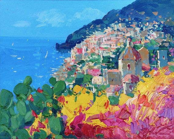 Positano Painting On Canvas Original Art Amalfi Coast Etsy Seascape Paintings Italy Art Art Painting Oil