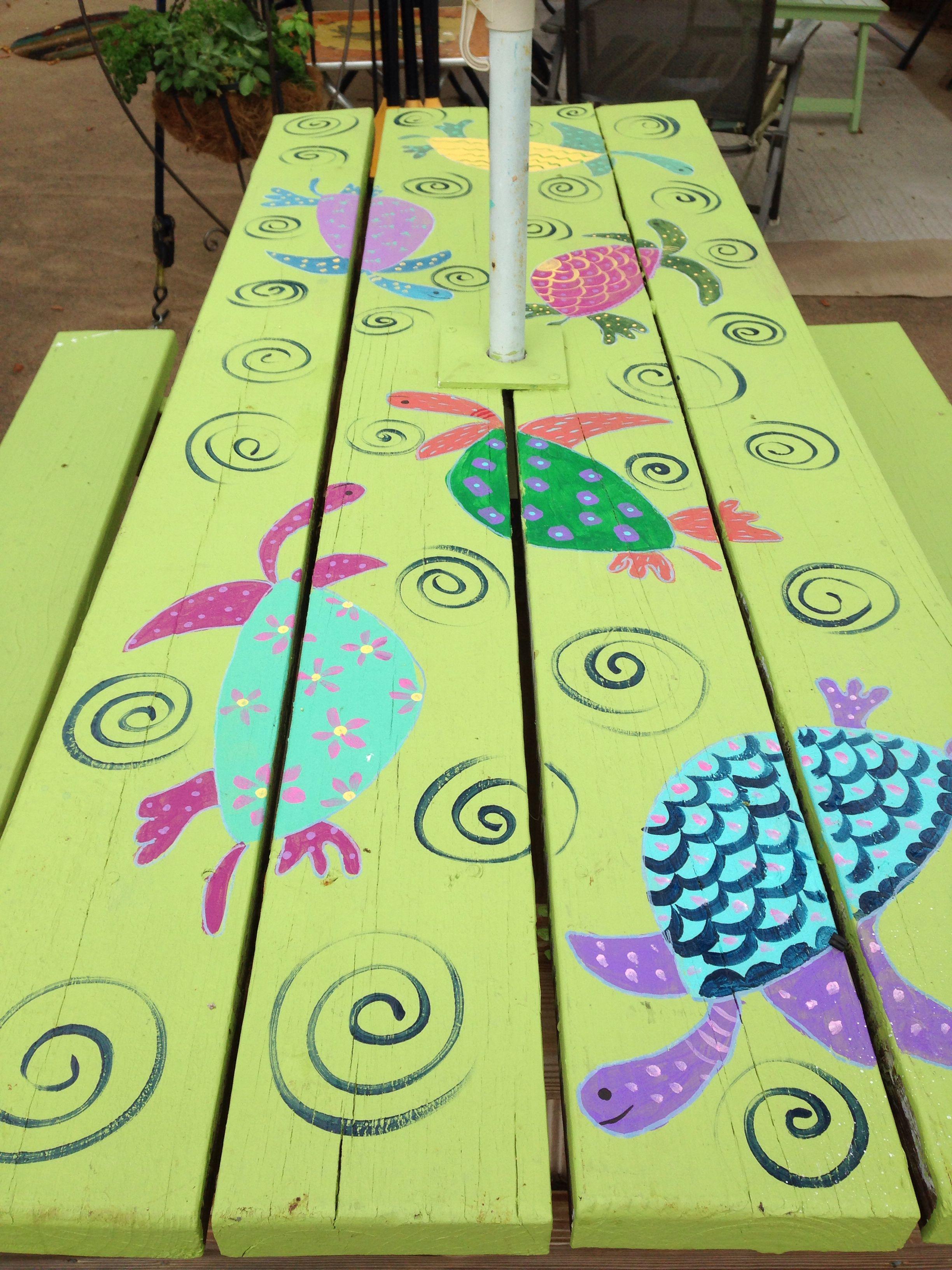Homemade garden art ideas - Painted My Picnic Table Homemade Couchpainted Picnic Tablesoutdoor Tablesgarden Artgarden Ideaspicnicspainted