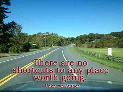 There Are No Shortcuts To Any Place Worth Going Unknown Author