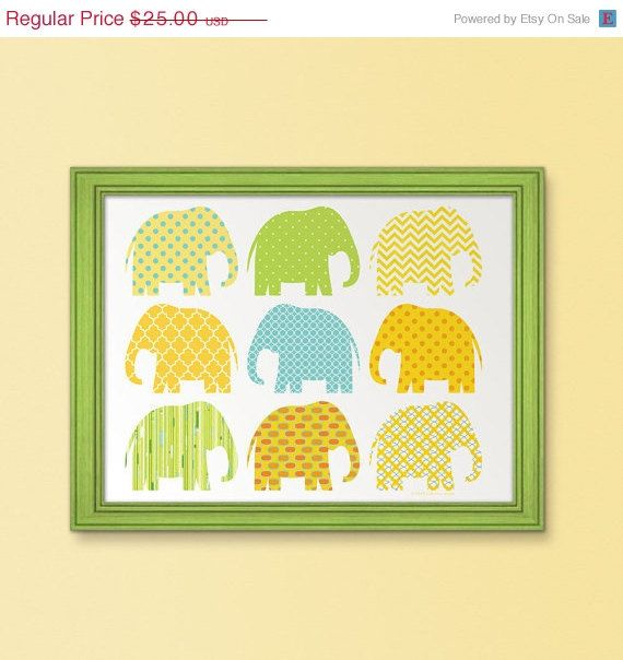 Elephants marching nursery art