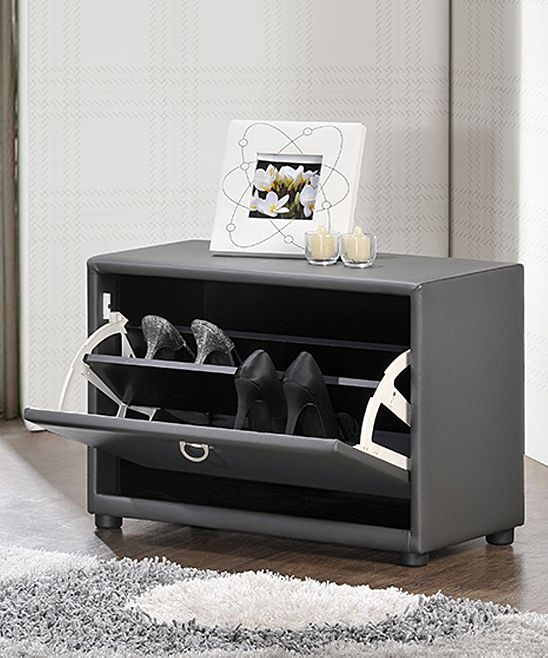 Gray One-Tier Upholstered Shoe Cabinet