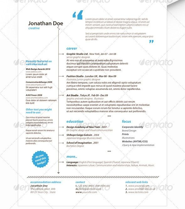 Get Minimal  R E S U M E    Design Resume And Template