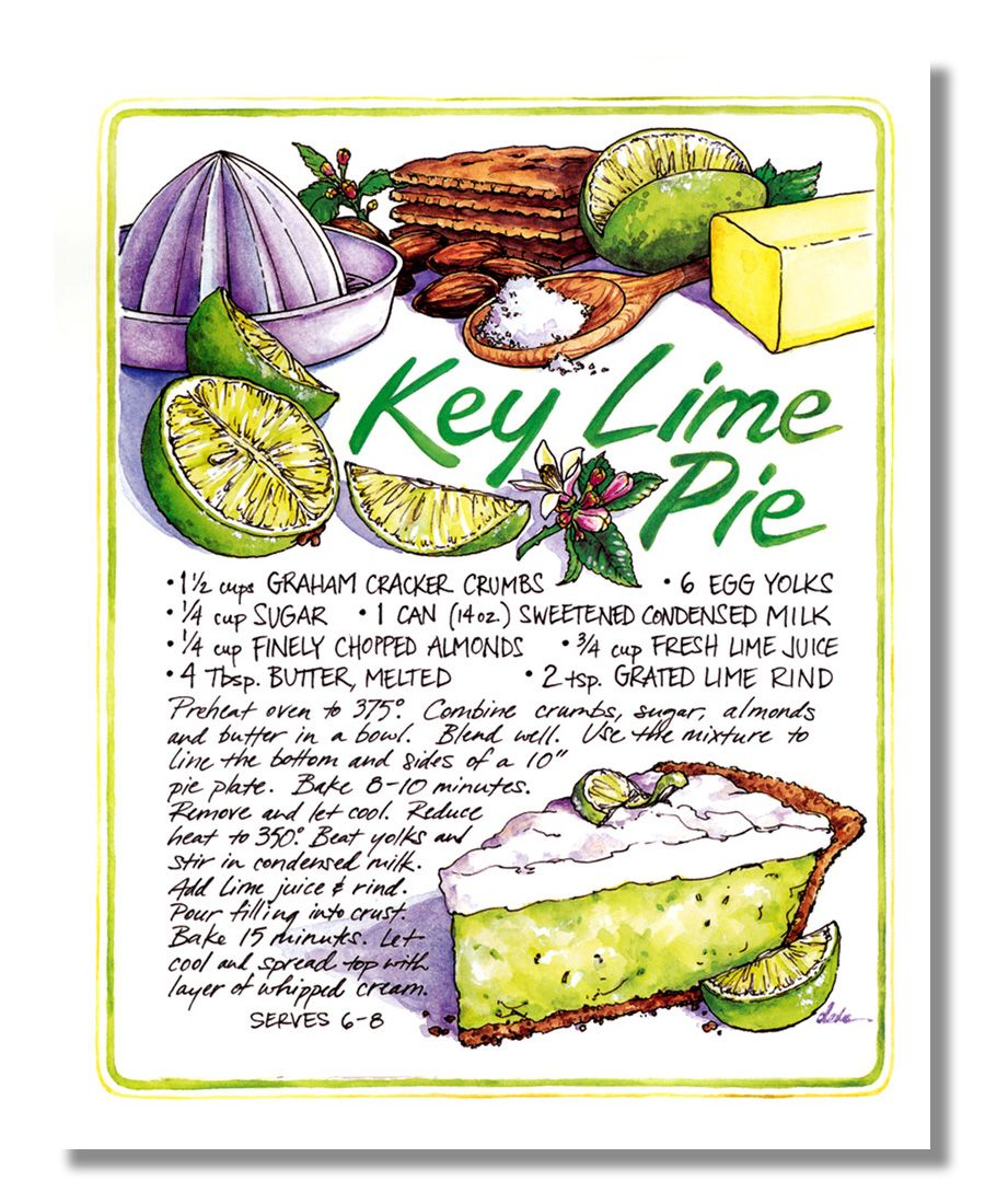 pie wall art | ... about Recipe Homemade Key Lime Pie Kitchen Wall Picture 8x10…