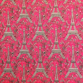 Paris Eiffel Tower print French pink Rockabilly wire Pin up headband