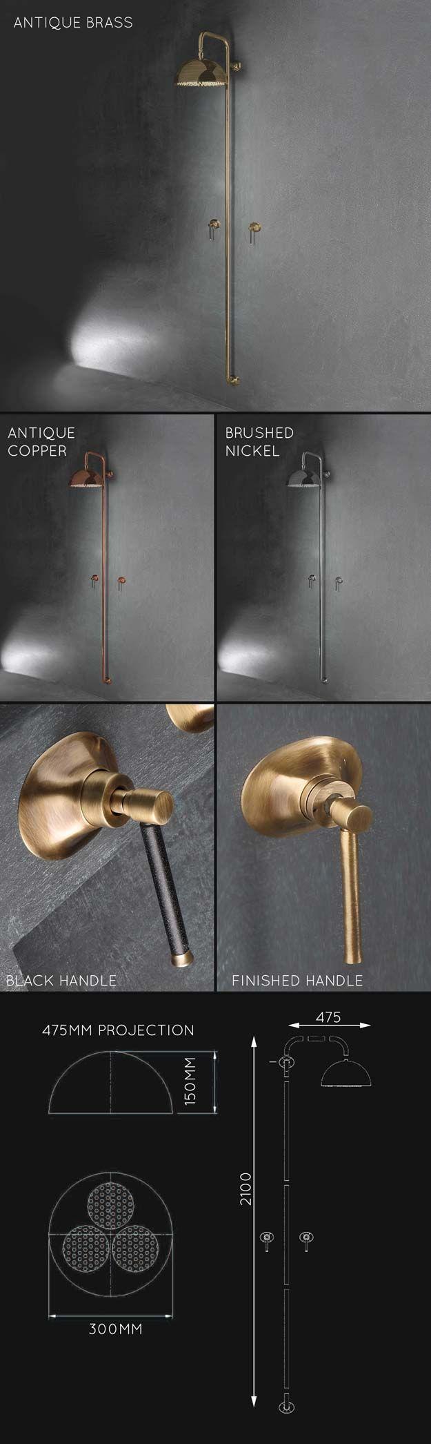 Tadelakt bathroom made by amel kadic - Pau Brass Shower Column 39jj