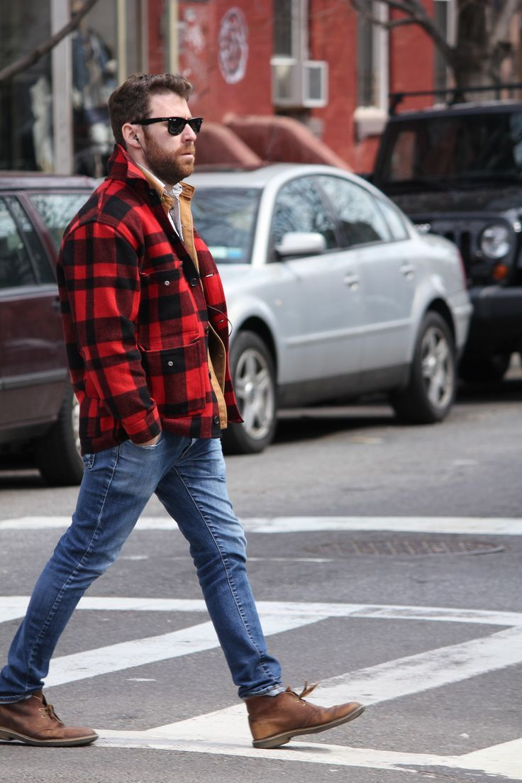 Men's Red and Black Check Barn Jacket, Blue Jeans, Brown Leather ...