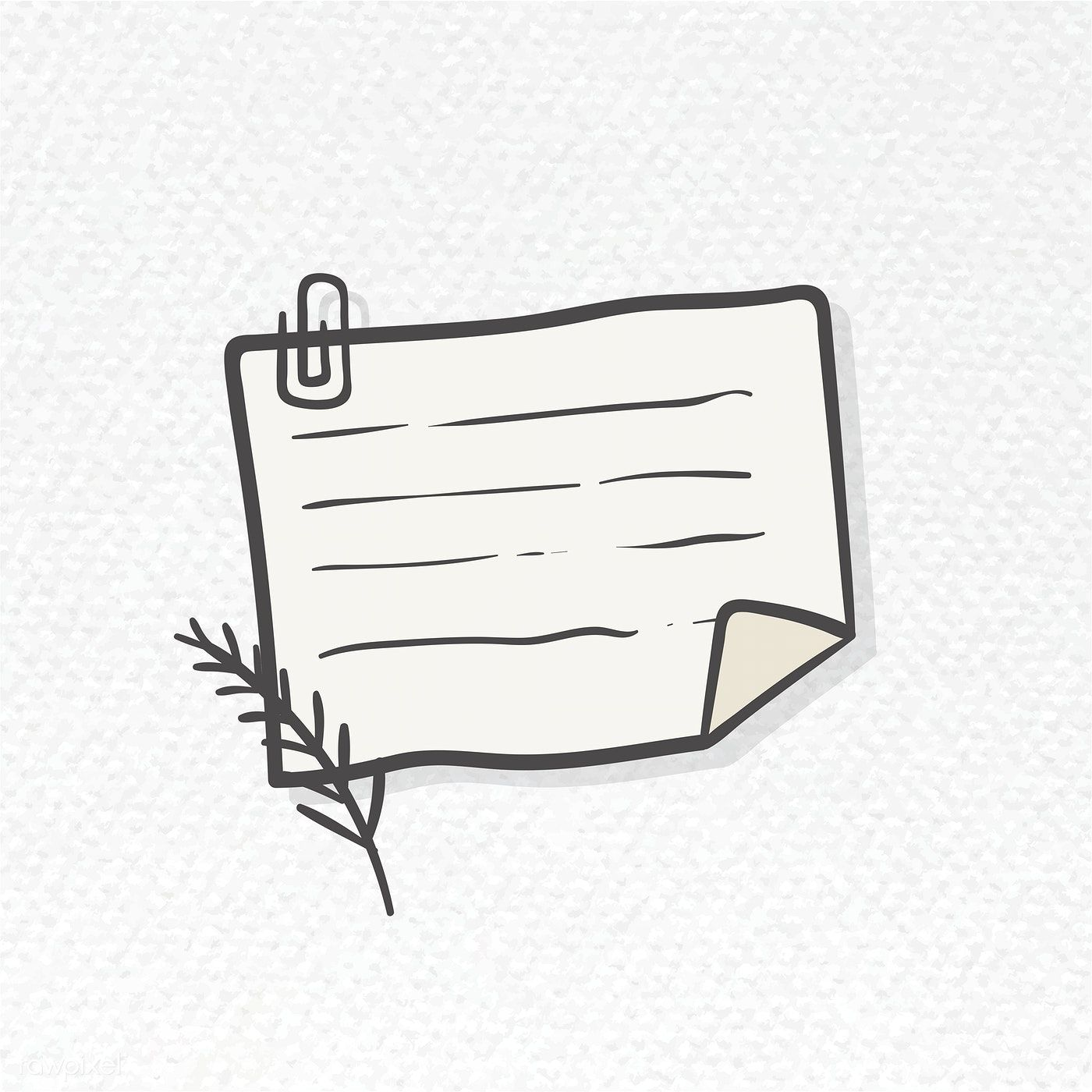Blank lined paper note with paper clip illustration free
