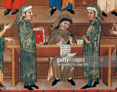 Stock-Illustration : Notary at work, miniature from Matricola dei notai (list of notaries) in Perugia, Italy, 15th century