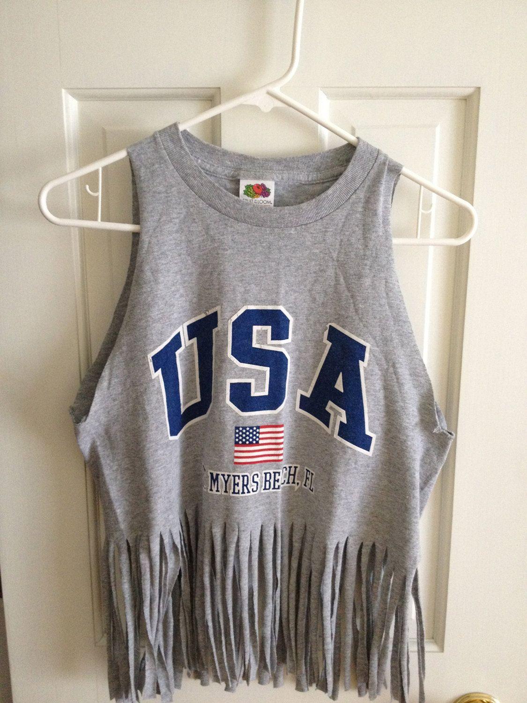 USA cut off and fringe T-shirt. via Etsy. | Holidays & Seasons