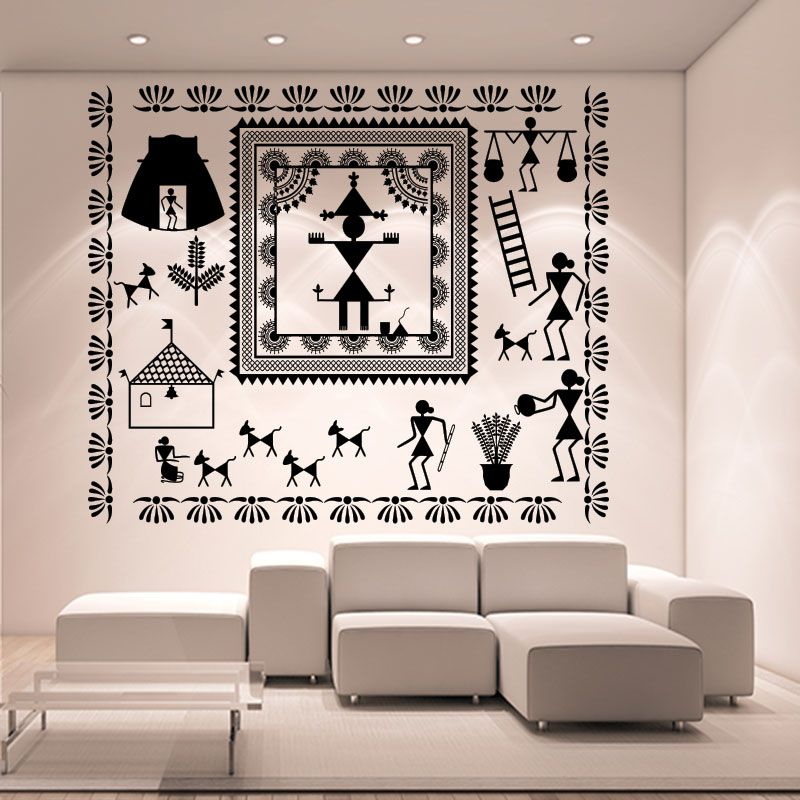 Warli Temple And God Dance Wall Decal | Warli painting in ...