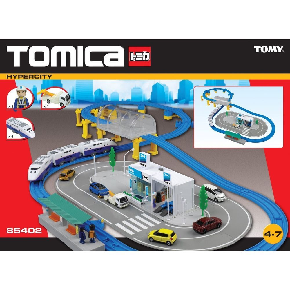 Tomy tomica train track set including car garage lots of extras