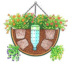 self watering hanging basket - I am just not tall enough to water my hanging plants regulary