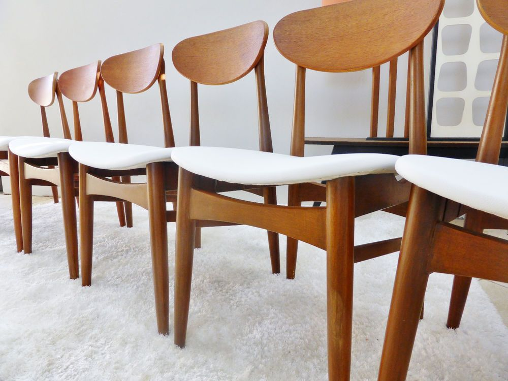 6 VINTAGE DANISH RETRO PARKER CHISWELL DINING CHAIRS NEW