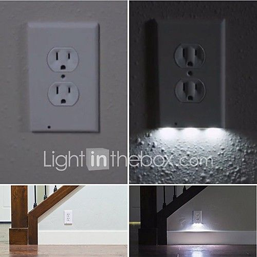 1Pcs Plug Cover LED Night Angel Wall Outlet Face Hallway Bathroom ...