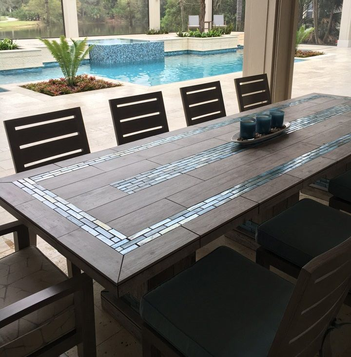 The River Mosaic Tile Table Top Patio Table Top Mosaic Tile