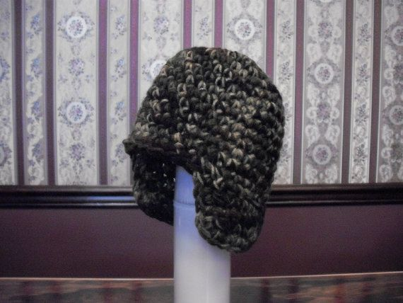 Child Camo Green Brown Earflap Hat Boy Ski by MarlowsGiftCottage, $22.00