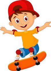 Skateboard Park Cartoon Little Boy Cartoon Skateboarding Stock