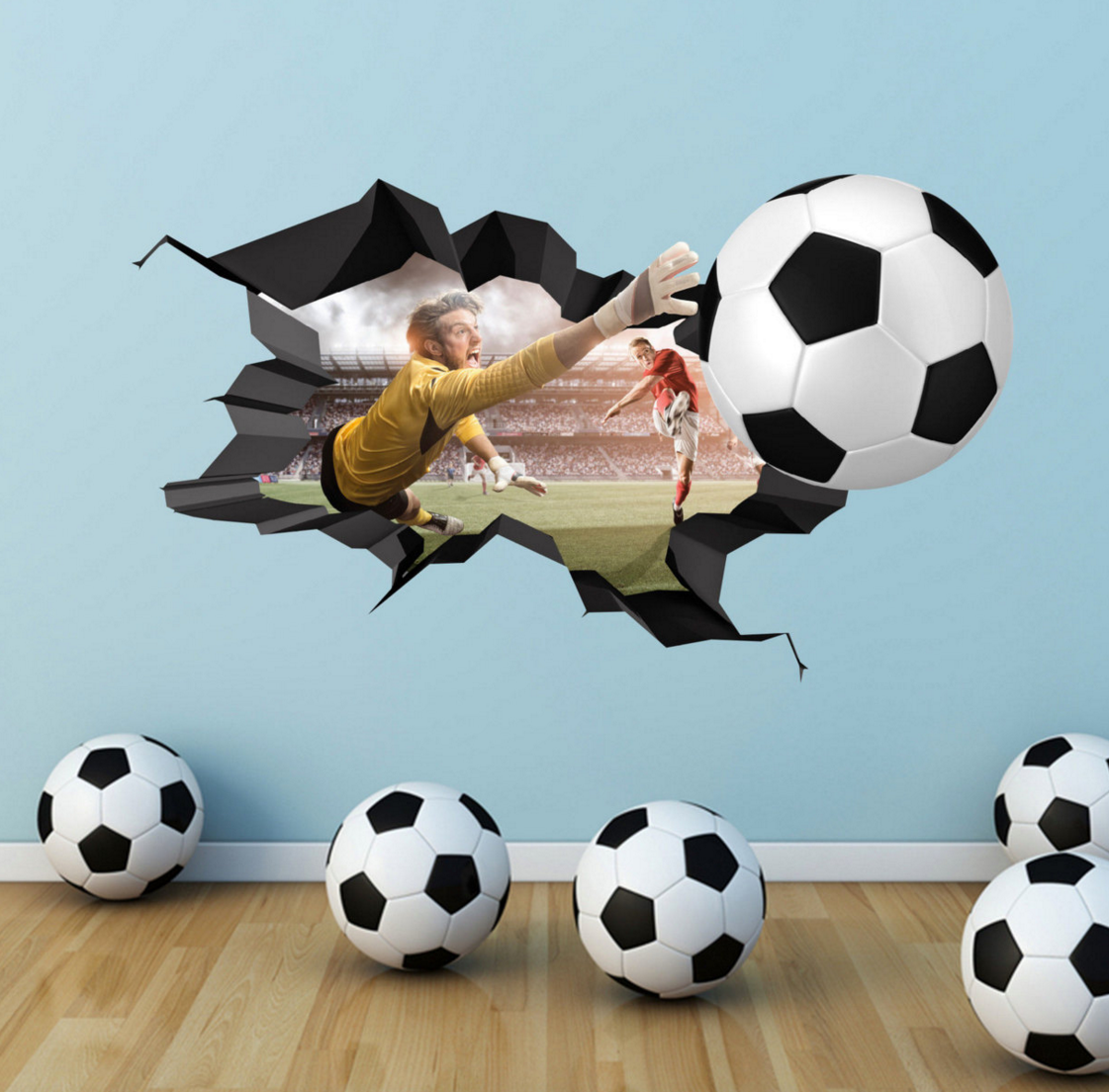 Football Wall Decal Cracked Full Colour Wall Art Sticker Footballer Boy  Girls Bedroom Decal Mural By Wall Smart Designs Ltd