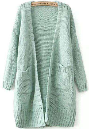 Green Long Sleeve Pockets Knit Cardigan