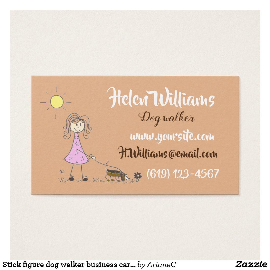 Stick figure dog walker business cards | Stick figures, Business ...