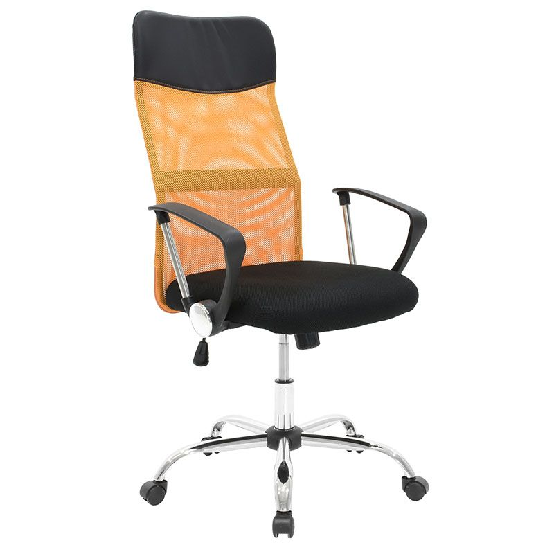 Manager office armchair with PU black and orange