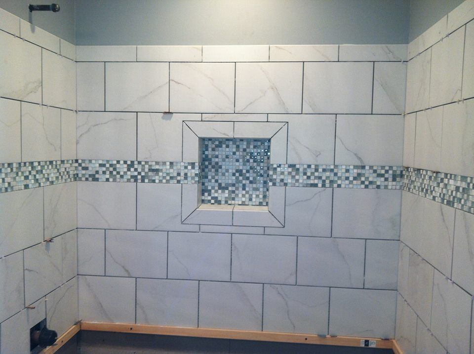 White Shower Tile Shampoo Box Niche With Mosaic