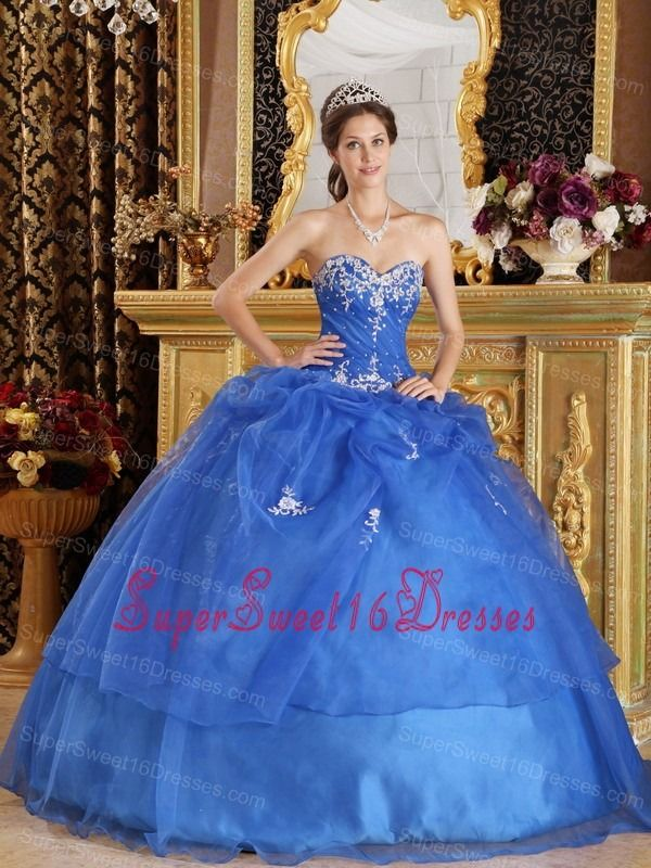 aafe166e243 Buy blue ball gown sweetheart organza appliques sweet sixteen quinceanera  dresses from sweet 16 quinceanera dresses collection