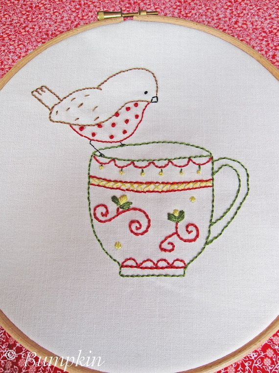 Hand Embroidery PDF Pattern - Tea Time Song - Bird Embroidery Pattern, Tea Cup Embroidery