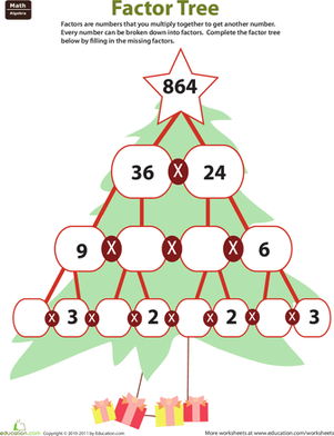 Fill In The Factor Tree Worksheet Education Com Factor Trees Christmas Math Middle School Algebra Worksheets