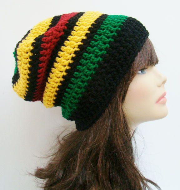 Crochet, Slouchy, Beanie, Hat - Unisex, Mens, Womens - Rasta, Reggae ...