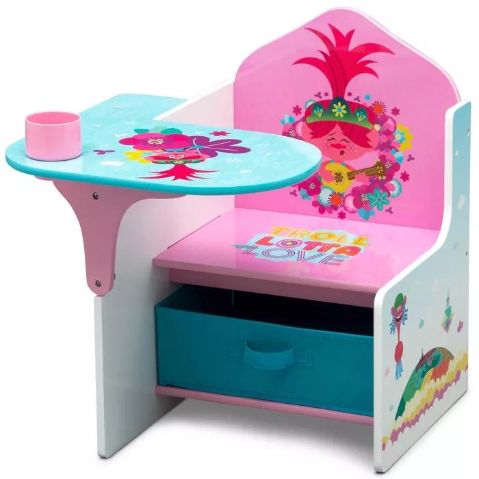 Trolls World Tour Chair Desk With Storage Bin Delta Children In 2020 Kids Chairs Desk Storage Delta Children