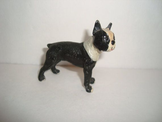 Antique Hubley Cast Iron Boston Terrier Dog Miniature Figurine