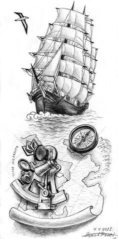 a clipper with old map with a sextant captain nemo lifestyle pinterest tattoo tatoo and. Black Bedroom Furniture Sets. Home Design Ideas