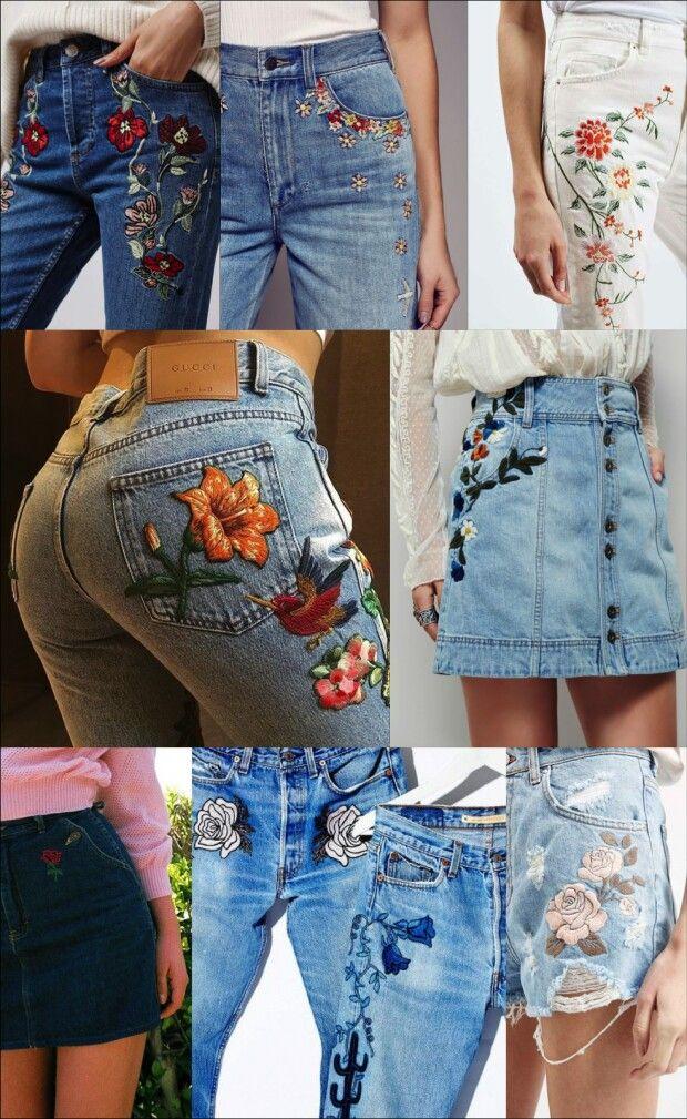Fique de olho bordado no jeans flower embroidery and clothes fique de olho bordado no jeans ccuart Images