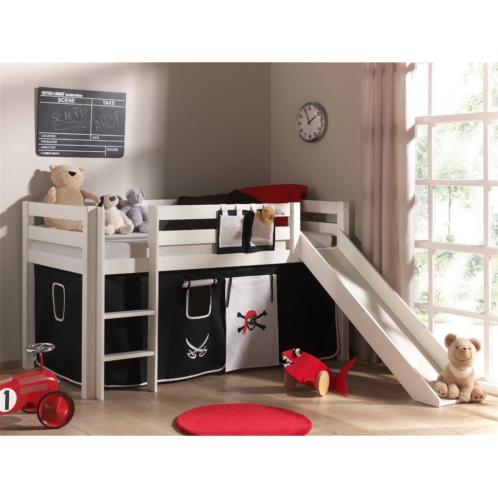 lit toboggan astrid pin verni blanc tente pirate bebes. Black Bedroom Furniture Sets. Home Design Ideas