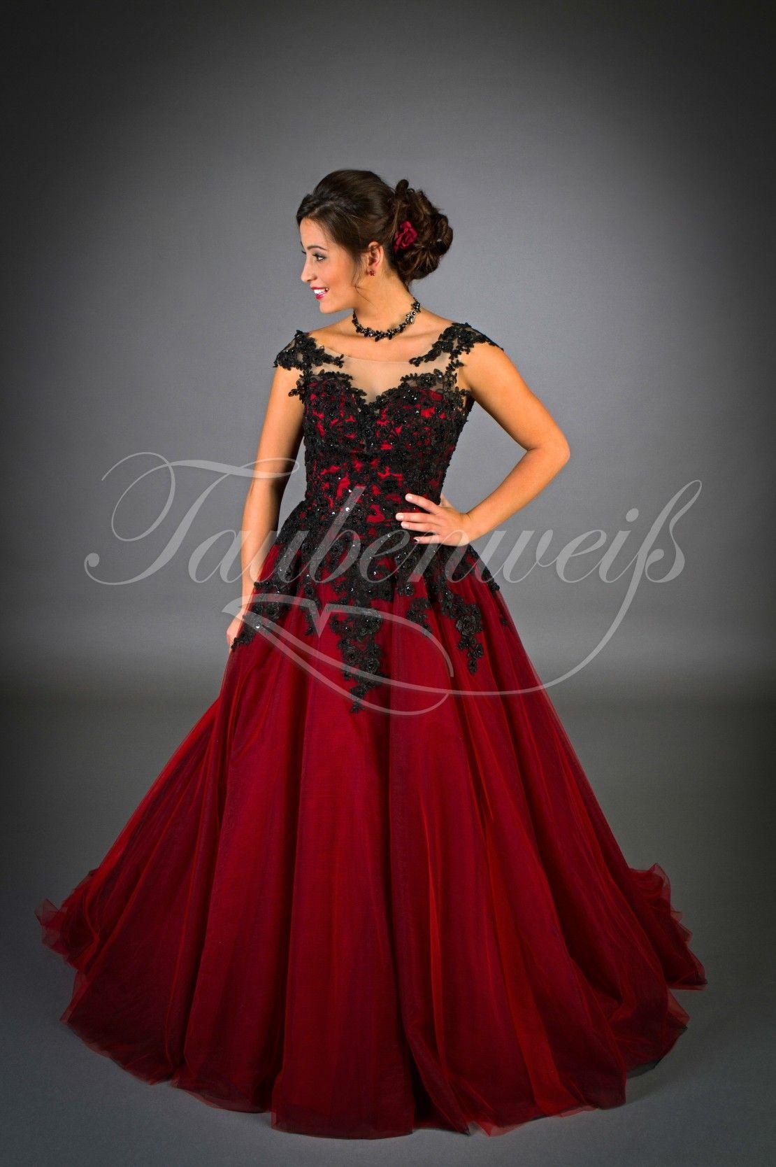Brautkleid günstig rot schwarz Gothic Spitze Perlen Tüll mit