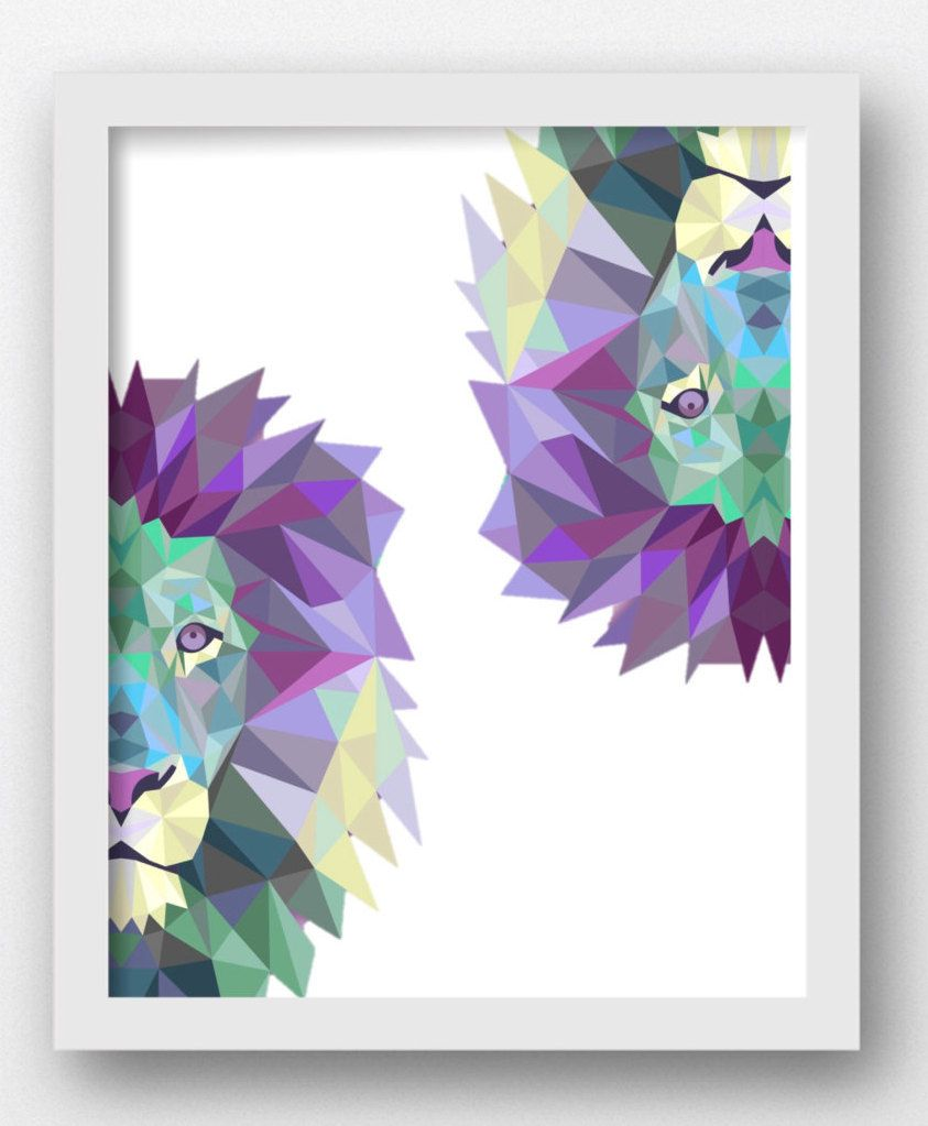 Lion Wall Art Polygon Prints, Digital Polygon Prints, Lion Prints, Lion Pictures, Lion Home Decor Art Digital Prints,Digital Download Print, by MaxMeOneUniverse on Etsy