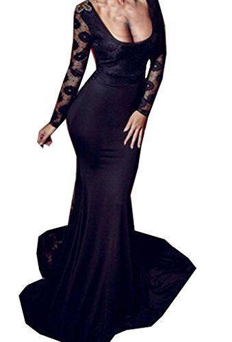 Zkess Women's Long Sleeve Lace Maxi Evening Gown