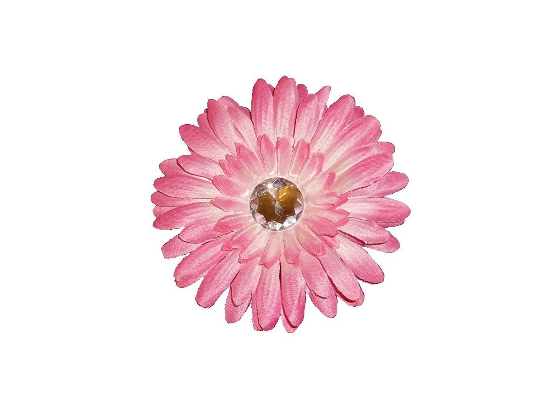 1 Dozen 4 Pink Girls Crystal Gerbera Daisy Hair Clips Flower Clip