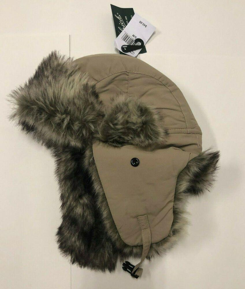 5a482a8cb20fd Nwt Mens Woolrich Tan Fur Trim Trapper Hat Cap S M Small Medium  fashion
