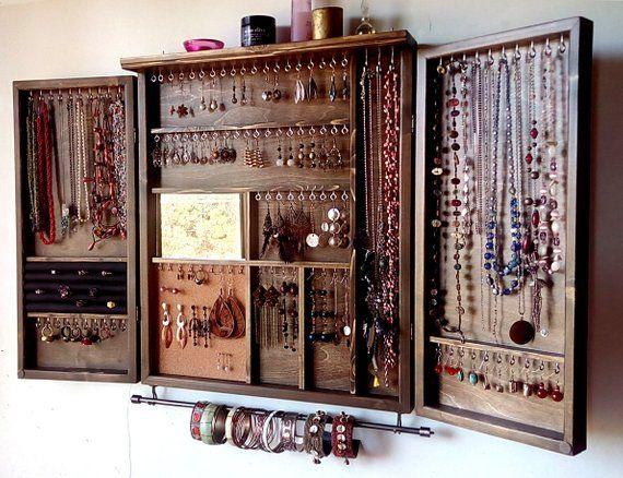 Photo of Jewelry cabinet. Large earrings closet with shelf. Dark WALNUT Wooden wall mounted earring organizer