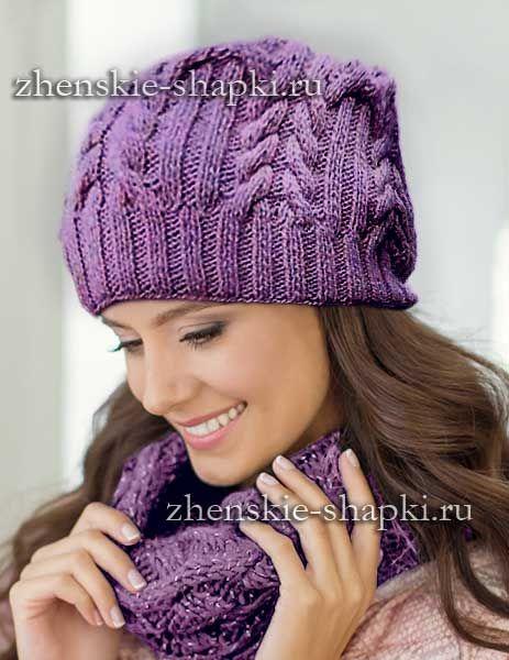 Шапочка с косами схема вязания спицами | Вязаные шапки ...