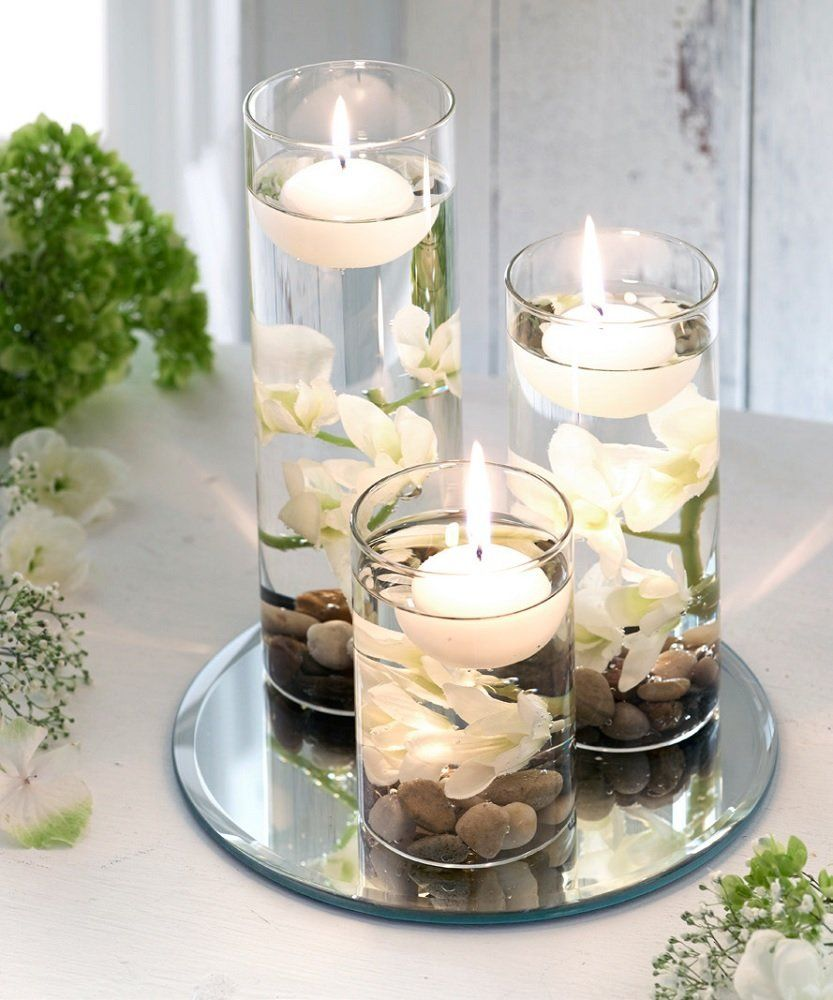 Set of x3 Floating Candles Artificial Flowers Mirrored Base Pebbles ...