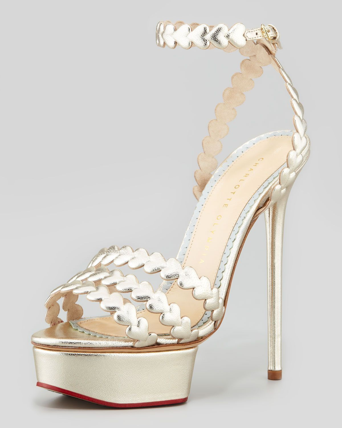 e5bf19e1d Charlotte Olympia I Heart You Metallic Platform Sandal Platinum in Silver  (PLATINUM) | Lyst #CharlotteOlympiaHeels