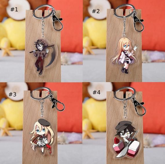 Photo of Anime Angels of Death Keychain Acrylic Key Chain Cartoon Figure Cute Charms Pendant Keyring Accessories Gift