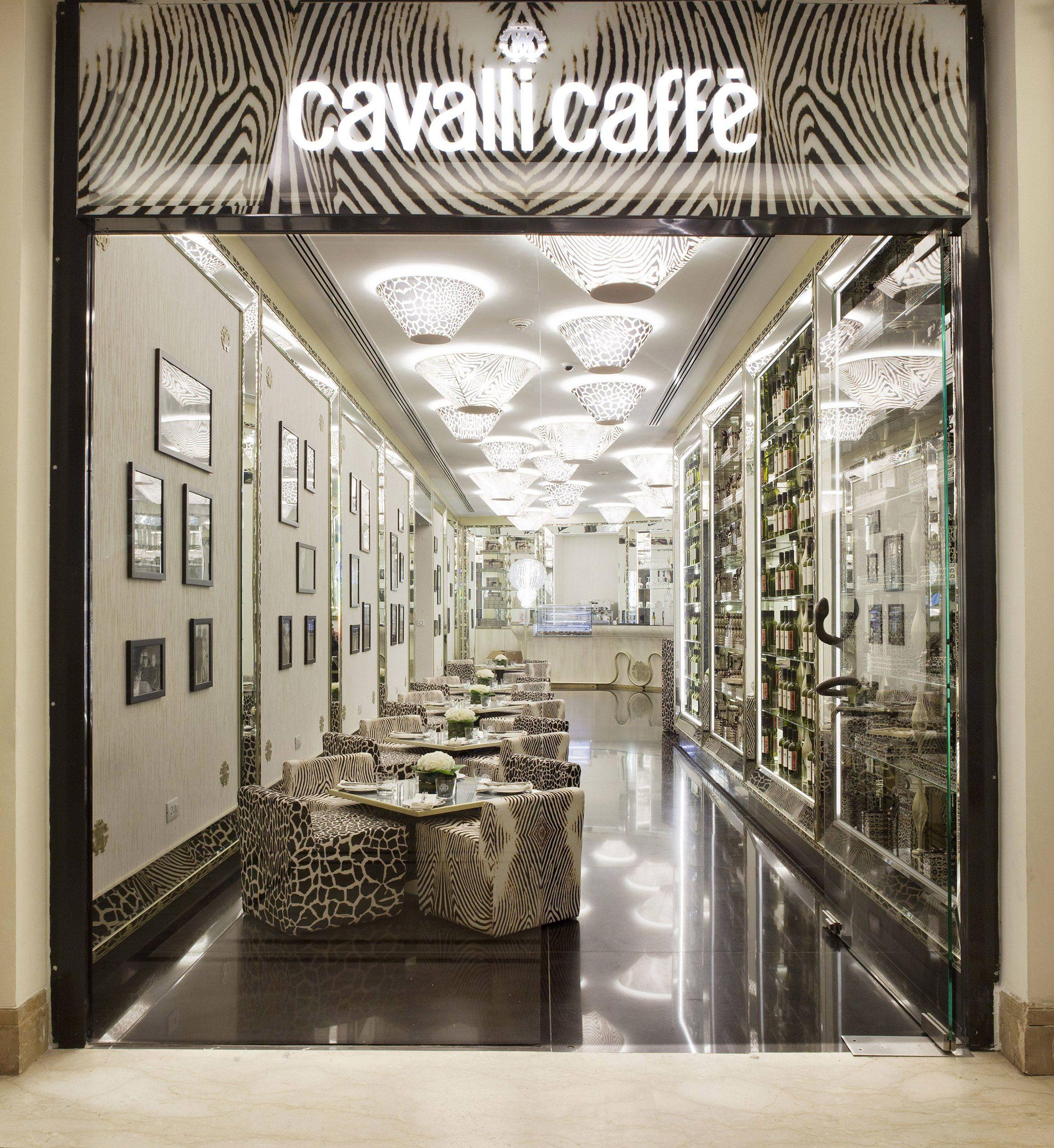 the new Cavalli Caffe in New Delhi, India. #RobertoCavalli