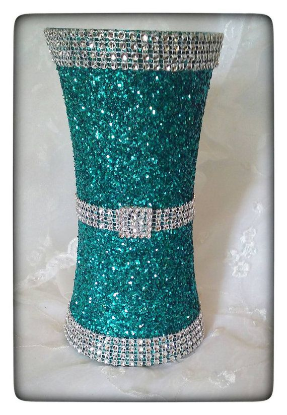 Items Similar To Peacock Colored Glitter Bling Vase Centerpiece For Quinceanera Or Wedding On Etsy