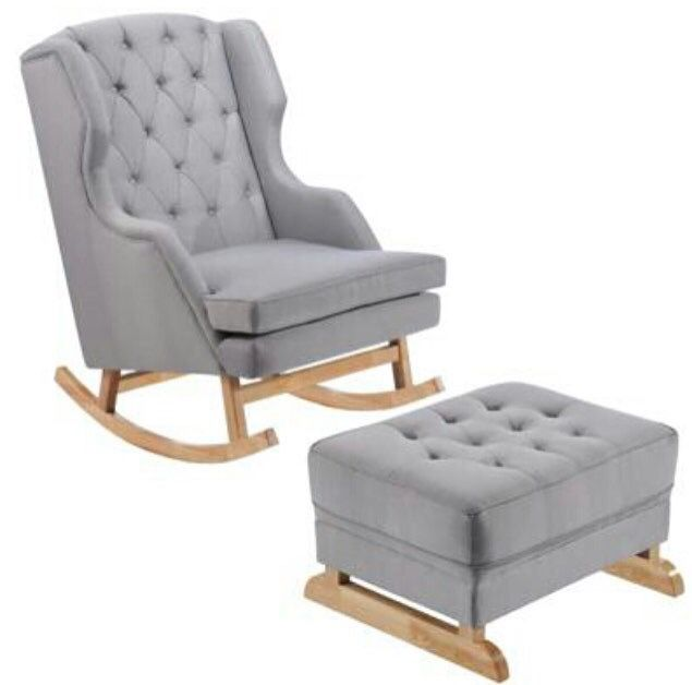Bordeaux Rocking Chair & Ottoman Grey From Hobbe